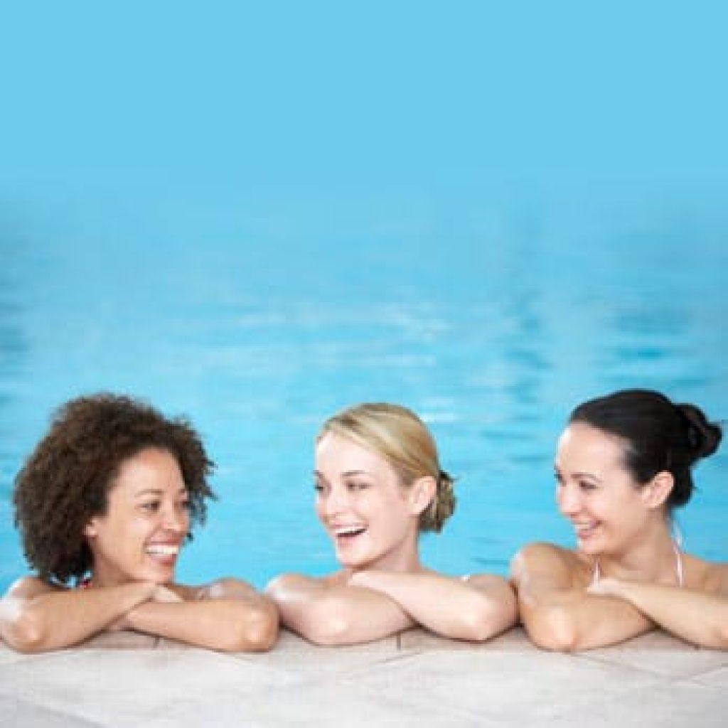 three women in pool