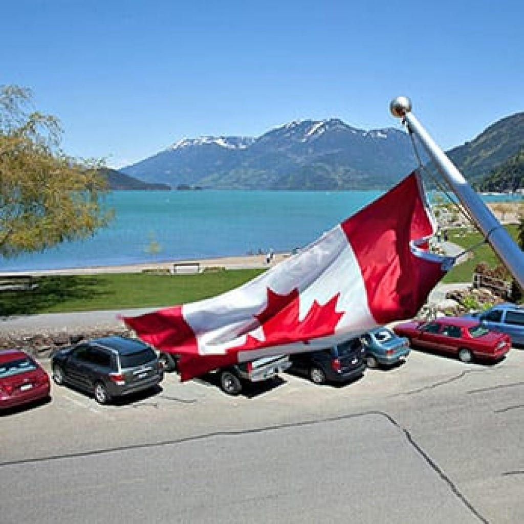 Canadian flag with ocean view
